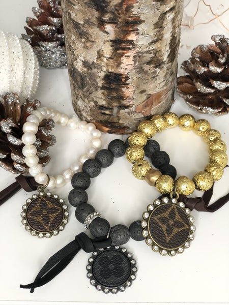 LV Upcycled Beaded Bracelet with Pendant