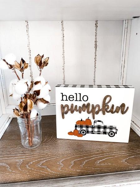 Hello Pumpkin Black and White Truck Sign