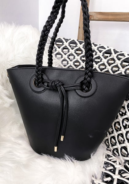 (2 colors!) Braided Handle Twist Detail Bag