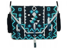 Real Leather and Beaded Crossbody