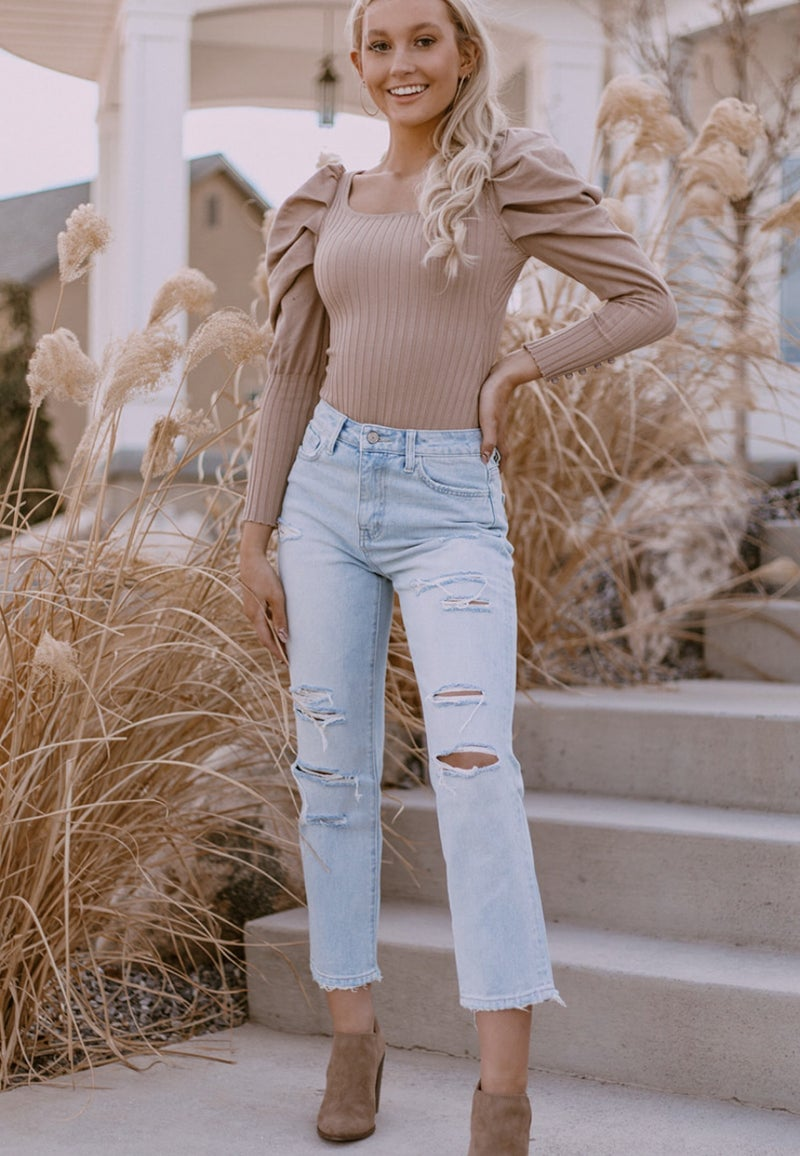 (3 colors!) Just One Look Puff Long Sleeve Body Suit