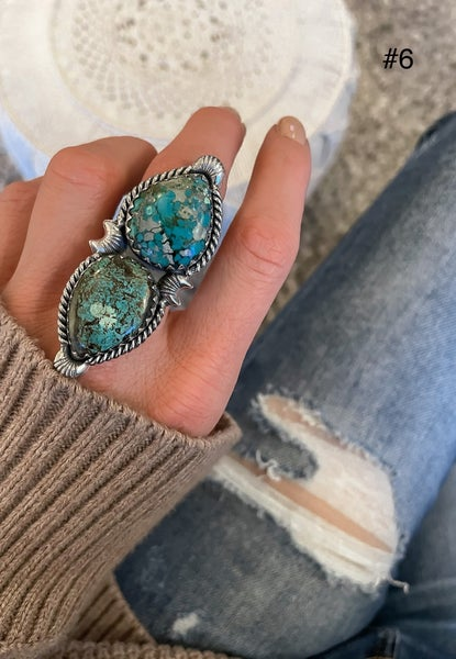 KRUSH EXCLUSIVE: Double Stone Turquoise Rings in several styles