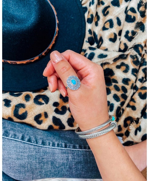 Dainty Floral Turquoise Ring