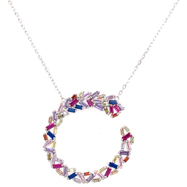 Pretty Semi Circle Baguette Necklace