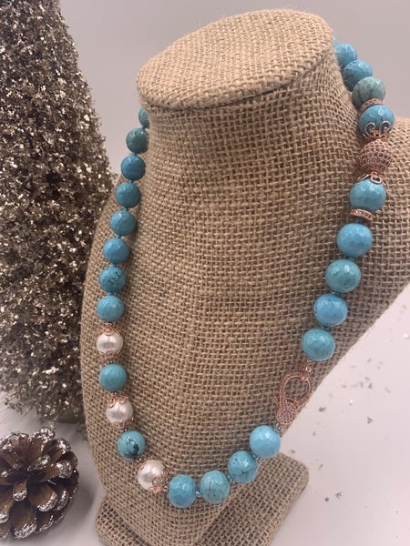 Turquoise Blue Necklace with Pave and Pearl Detail