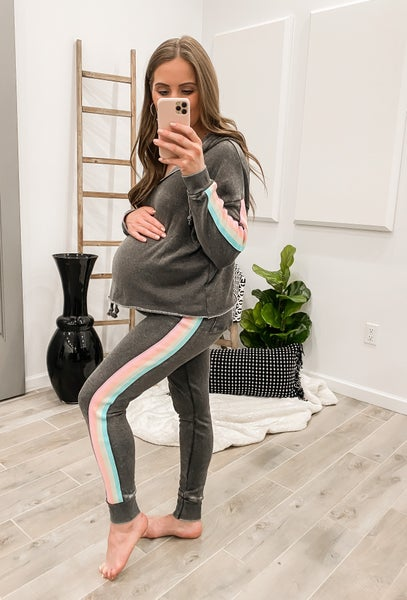 Wishful Thoughts  Washed Neon Burnout Stripe Taping Jogger