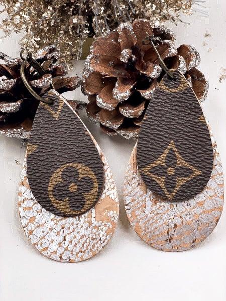 LV Upcycled Metallic Detail Dangle Earring