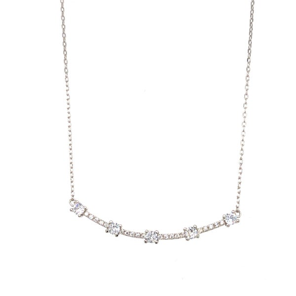 (gold & silver) Pave Swoop Necklace