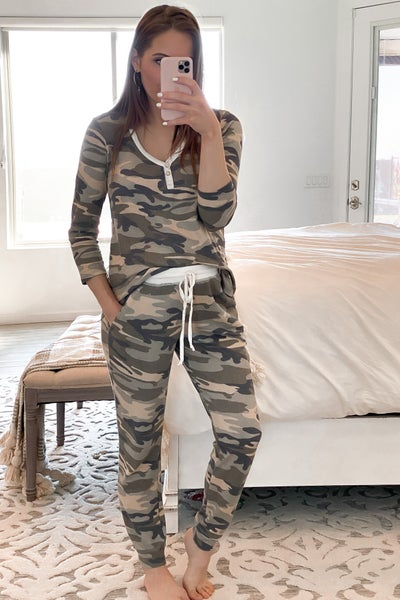 Camo Print Thermal Jogger Pants with Pockets