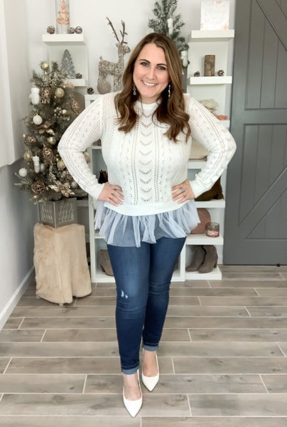 POL Doorbuster Pretty Perfect Tulle Sweater