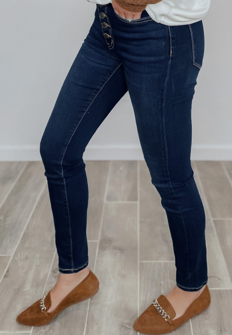 So Good High Rise Button Up Skinny Jean