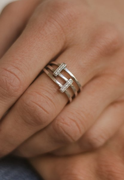Triple Threat Bar Sterling Silver Ring