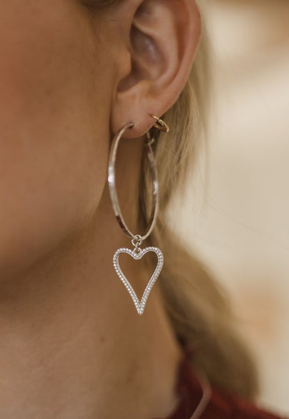 Krush Kouture: Dangle heart hoops