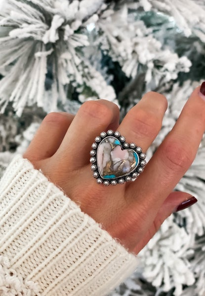 EXCLUSIVE: Pink Opal Turquoise Sterling Silver Ring PRE-ORDER