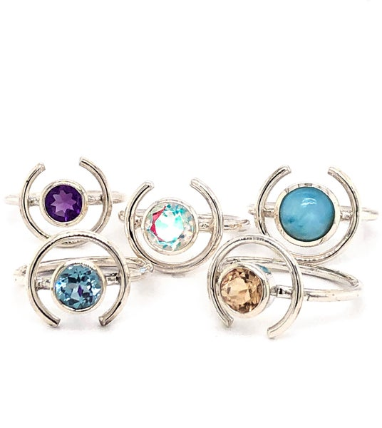 (6 stone options) Mystic Topaz Moon Ring