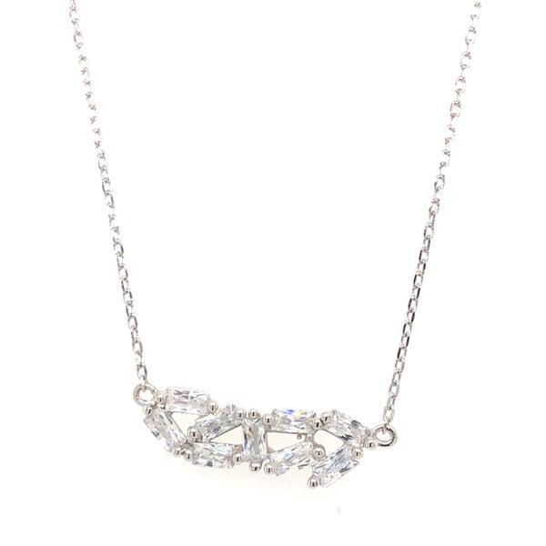 Sterling Silver Fancy Baguette Cluster Necklace