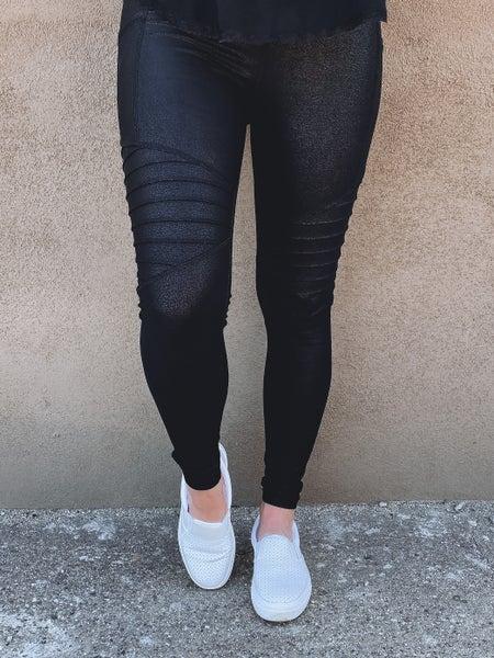 (S-3X) Highwaist Foil Moto Leggings