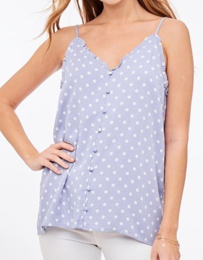 Cutest Button Up Ruffled Cami Top