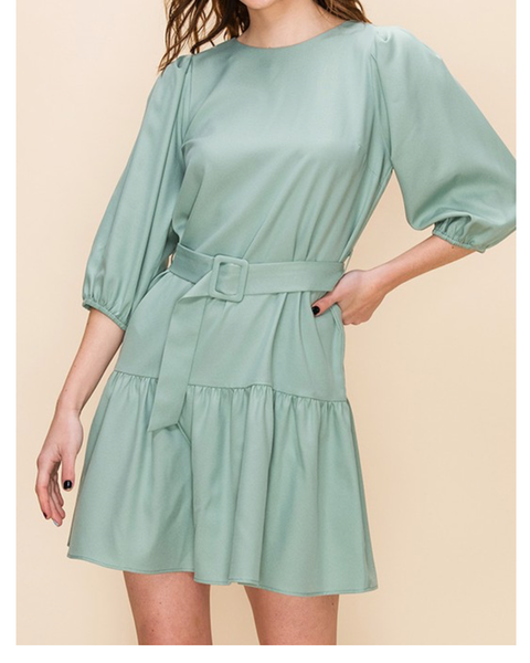 Spring Ruffle Dress with Belt