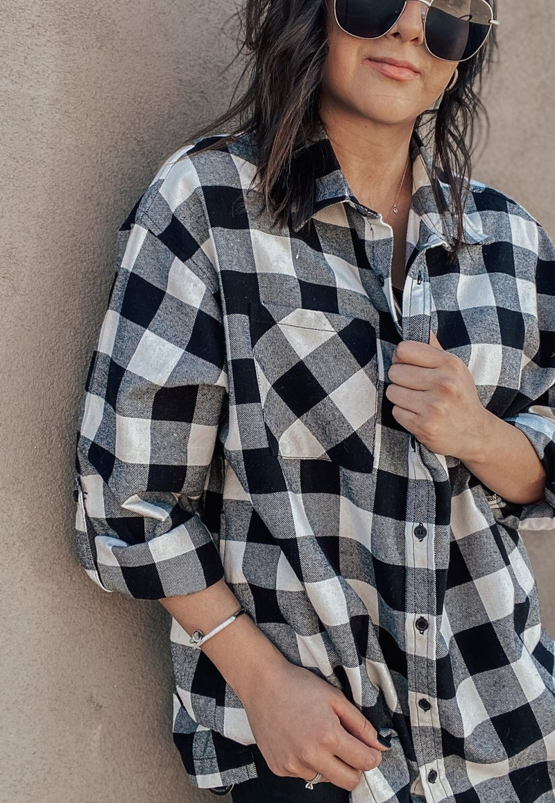 (S-3X!) Hello October Plaid Flannel Oversized Shirt
