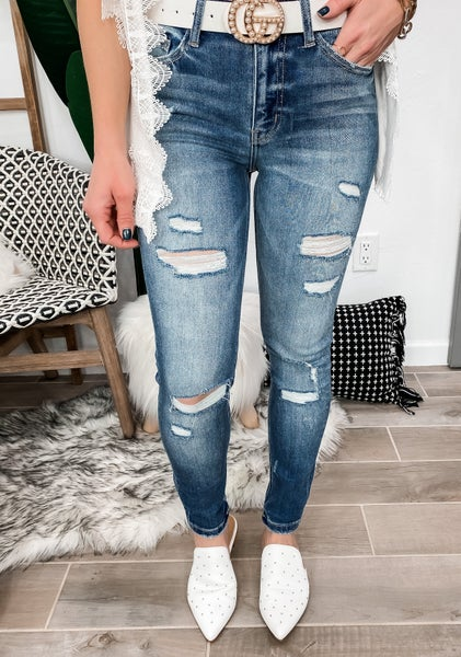 High Rise Distressed Ankle Skinny Jean