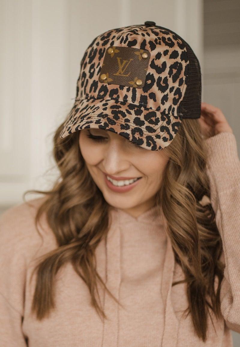 Upcycled LV Vintage Inspo Leopard Hat