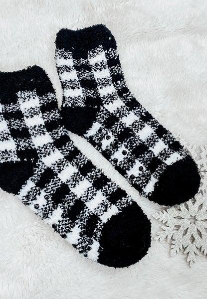 DOORBUSTER: (4 colors!) Plush Non-Slip Plaid Socks in Acrylic Ornament