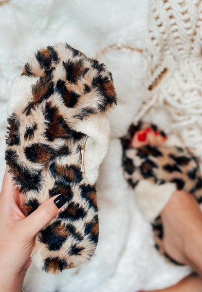 Let's Sleep In Leopard Slippers