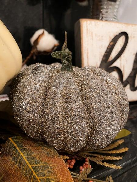 Small Glittered Pumpkin