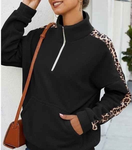 (S, fits 0-6 left!) Leopard Sleeve Sweater