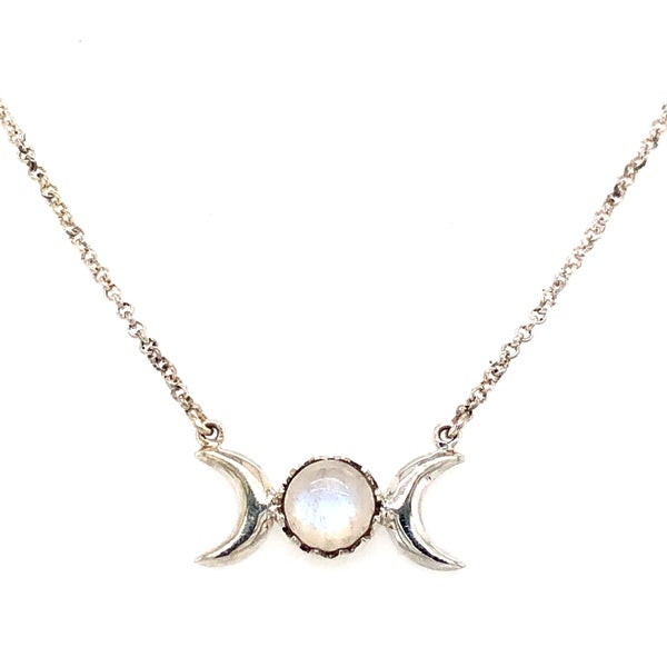 (3 stone options) Moon Child Sterling Silver Necklace