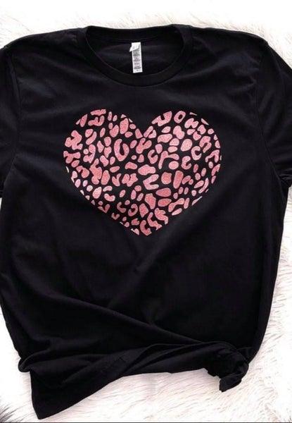 Rose Gold Glitter Leopard Heart PRE ORDER