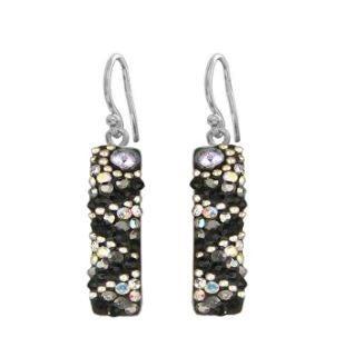 ( 3 colors) Long Skinny Rectangle Pave Mosaic Dangle Earrings