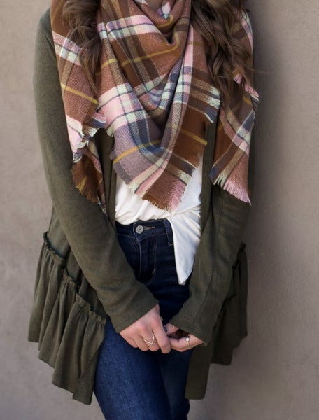 Blushing For You Plaid Square Scarf