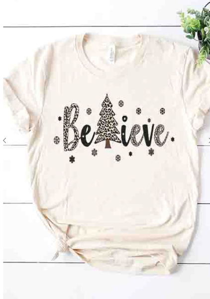 Believe Leopard Christmas Trees Holiday Graphic Tee