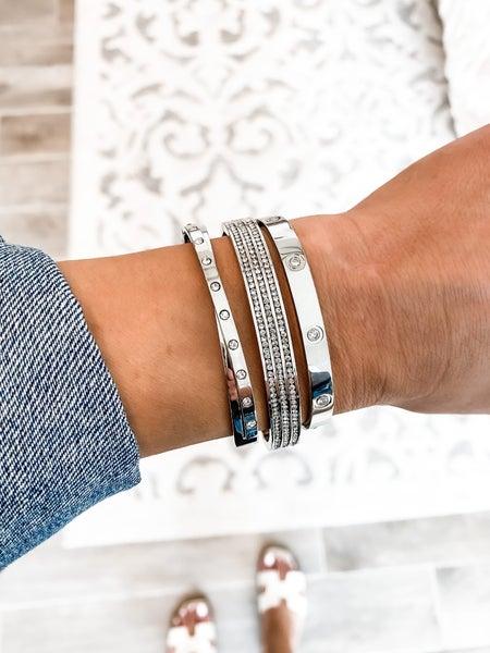 Three Row Sparkle Cuff Bangle Bracelet