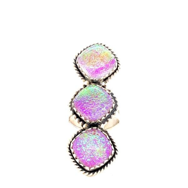 Sparkly Glitter Glass Diamond 3 Stone Crawler Ring