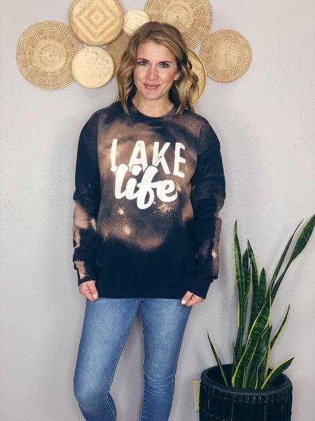LAKE LIFE WHITE AND NAVY ACID FLEECE