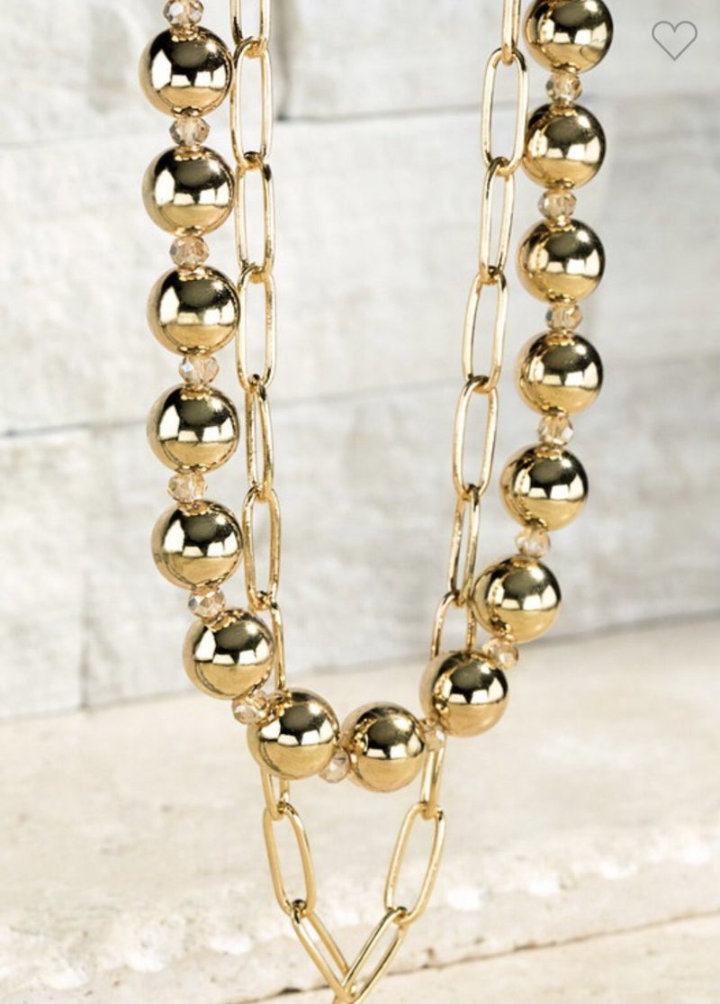DOUBLE LAYER BEAD NECKLACE