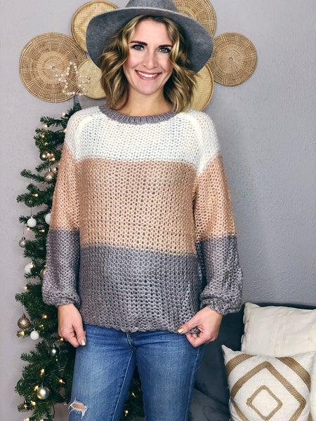 COLOR-BLOCK LOOSE KNITTED SWEATER
