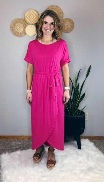 BELTED SHORT SLEEVE TULIP DRESS
