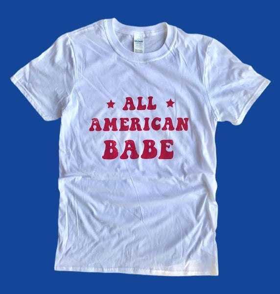 WHITE TEE ALL AMERICAN BABE