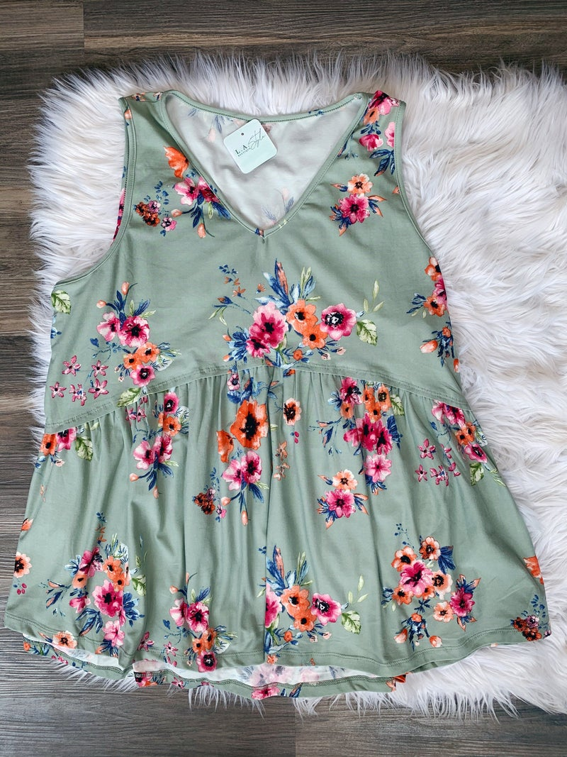 SLEEVELESS BABY DOLL TOP {EXTENDED SIZE}