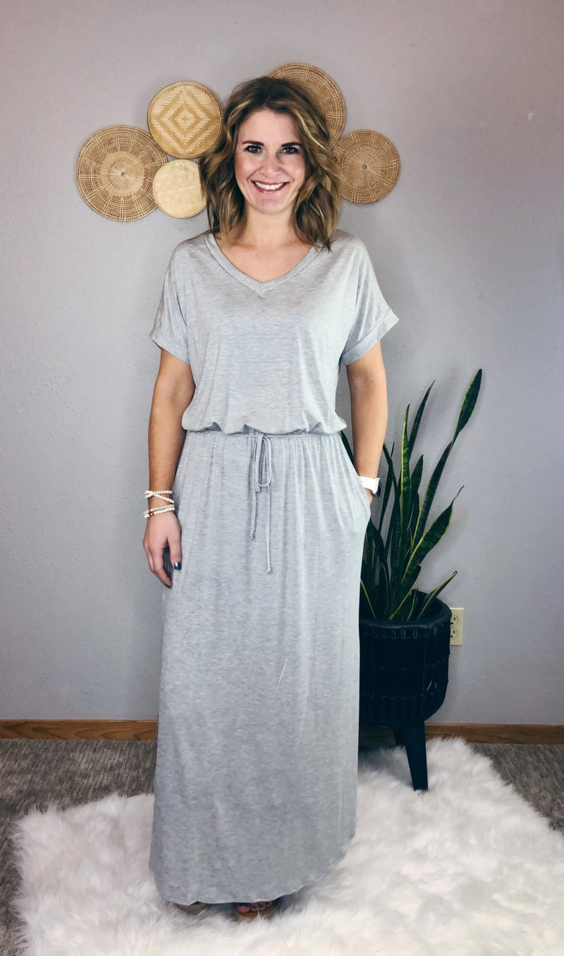 GREY ELASTIC WAIST DRESS