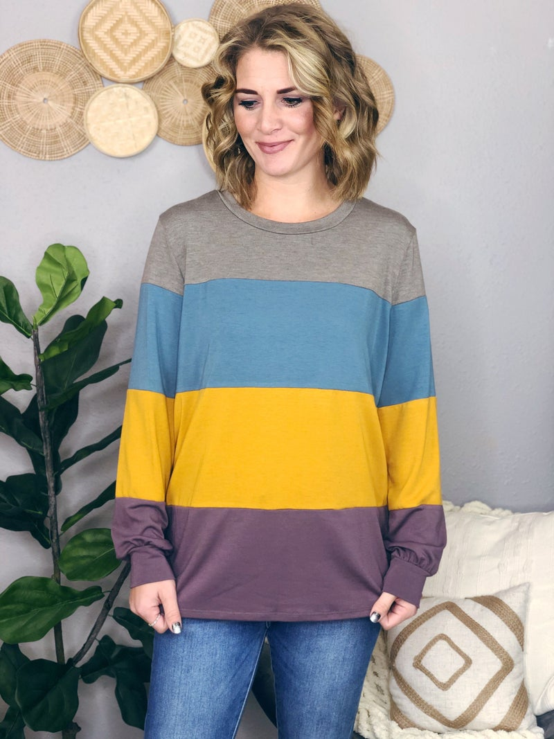 COLOR BLOCK TUNIC {EXTENDED SIZE}