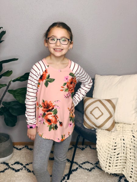 GIRLS FLORAL ELBOW PATCH TOP