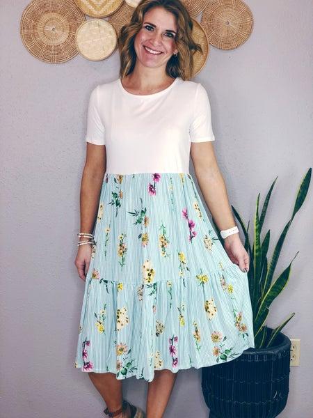 STRIPED FLORAL KNEE LENGTH DRESS