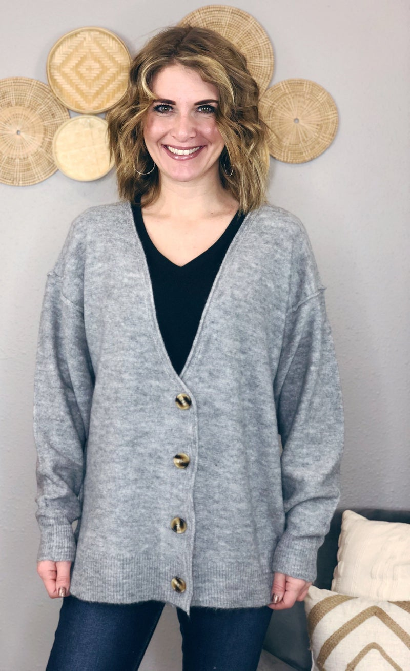BUTTON DOWN OVERSIZED CARDIGAN