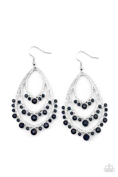 Break Out In Tiers Blue Earrings