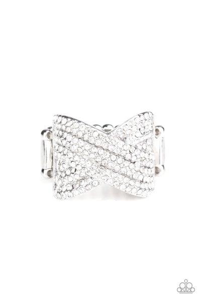 Girl Boss Glitter White Ring